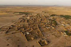 Maroc settlement in the desert near Marrakech aerial view. From baloon royalty free stock photo