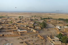 Maroc settlement in the desert near Marrakech aerial view. From baloon stock image
