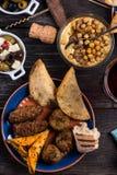 Maroccan样式快餐选择,塔帕纤维布 免版税库存照片