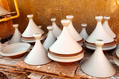 Maroccan dishware drying before roasting. On the table Royalty Free Stock Photos