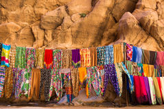 Maroccan shop with local fabric Royalty Free Stock Images