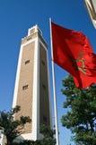 Maroccan torn och flagga royaltyfria bilder