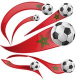Marocco flag set with soccer ball. Isolaetd on white Stock Image