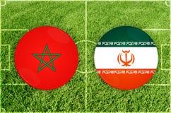 Marocco vs den Iran fotbollsmatchen Fotografering för Bildbyråer