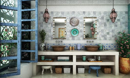Marockansk badrum royaltyfri fotografi