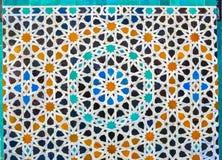 Marockansk zelligemosaiktilework på väggen fez morocco royaltyfri fotografi