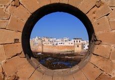 Marocko Essaouira från den horisontalramparten - Arkivfoto
