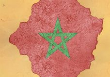 Marocko flaggaabstrakt begrepp i betong för agg för fasadstruktur stor skadad arkivbilder