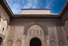 Marocko Marrakesh Ali Ben Youssef Medersa Islamic Royaltyfri Bild
