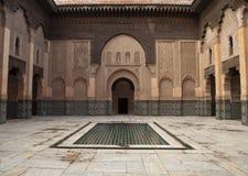 Marocko Marrakesh Ali Ben Youssef Medersa Islamic Arkivbild