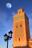 Marocko Marrakesh den Kasbah moskéminaret Arkivfoto