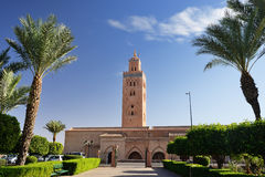 Marocko Marrakesh Koutoubia moské Arkivbild