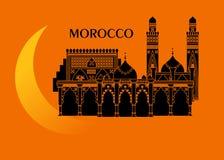 Marocko och måne Royaltyfria Bilder