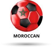 Marokańczyk karta z piłki nożnej piłką w kolorach flaga państowowa royalty ilustracja
