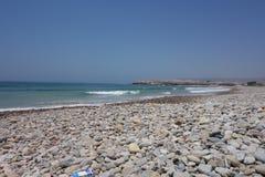 Marokańczyka krajobraz obłoczna oceanu nieba widok woda Plaża w Agadir zdjęcie stock
