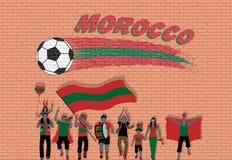Marokańscy fan piłki nożnej rozwesela z Maroko flaga barwią w fron ilustracja wektor