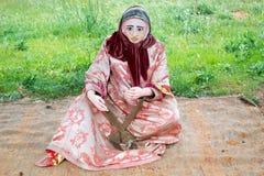 Marokański kobiety mannequin robi niciom z wełny zdjęcie royalty free