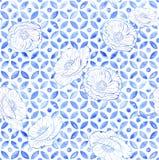 Marokańskich maczków bezszwowa płytka - indygowego błękita akwarela ilustracji