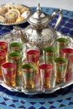 Marokkaanse thee en koekjes Royalty-vrije Stock Foto