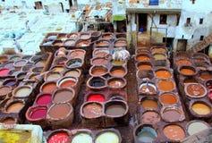 Marokkanische Gerberei stockfotos