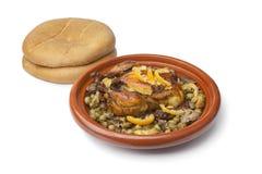 Marokkanischer Teller mit Huhn und Zitrone Stockbilder