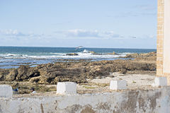 Marokko-Ansicht über das Meer stockbild