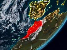 Marokko auf Erde nachts lizenzfreies stockbild