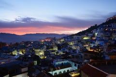 marokko Blauwe medina van Chefchaouen-stad Stock Fotografie