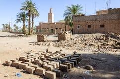 Marokko, Draa-Tal, Zagora, Ziegelsteine Lizenzfreie Stockfotos