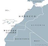 Marokko en de Westelijke politieke kaart van de Sahara royalty-vrije illustratie