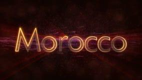 Marokko - glänzende Schleifungsländername-Textanimation stock footage