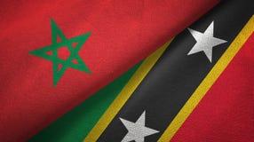 Maroko, święty i dwa flagi tekstylny płótno, tkaniny tekstura royalty ilustracja