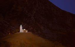 Maroko, Chefchaouen Samotny meczetowy Bouzaafer na górze wzgórza Zdjęcie Royalty Free