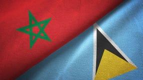 Maroko Lucia i święty dwa flagi tekstylny płótno, tkaniny tekstura ilustracja wektor
