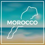 Maroko mapy szorstki kontur przeciw tłu Zdjęcia Stock