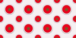 Maroko round chorągwiany bezszwowy wzór Marokański tło Wektorowe okrąg ikony Geometryczni symbole Tekstura dla sportów royalty ilustracja
