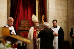 Maronite Patriarch and Cardinal Sfeir. Patriarch Mar Nasrallah Boutros Sfeir is the patriarch of Lebanon's largest Christian body, the Maronite Church, an Royalty Free Stock Photo