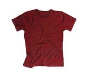 Maroon пустая футболка для модель-макета изолированного на белизне Стоковое Изображение