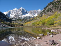 Maroon Bells. The beautiful Maroon Bells on a clear summer day. Reflection in the water Stock Photo