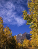 Maroon Bells. Mountain peaks framed by aspen trees in the fall royalty free stock photography