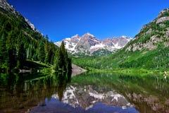Maroon Bells, Aspen, Colorado. Maroon Bells and Maroon Lake in summer near Aspen, Colorado royalty free stock image