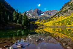 Maroon Bells, Aspen, Colorado. Maroon Bells and Lake Maroon on a perfect fall day. Located in Aspen, Colorado royalty free stock photo