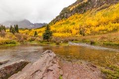 Maroon Bells Aspen Colorado in Autumn Stock Photo