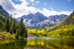 Maroon Bells in Aspen. Colorado in Fall Stock Photography