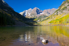 Maroon Bells in Autumn. Maroon bells and fall aspens near aspen colorado Royalty Free Stock Images