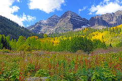 Maroon Bells in Autumn, Colorado Stock Photos