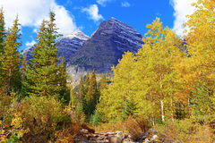 Maroon Bells and Autumn Foliage, Colorado Stock Photos