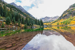 Maroon Bells Autumn Reflection Stock Photos