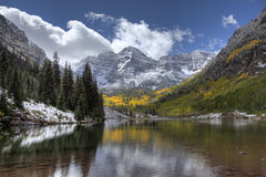 Maroon Bells in Autumn after a Snow Stock Image