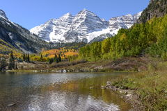 Maroon Bells in Autumn Stock Photography
